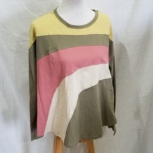 New Easel Olive Color Block Top